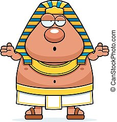Confused Cartoon Egyptian Pharaoh - A cartoon illustration...