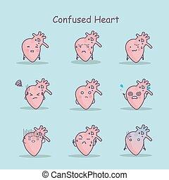 Confused cartoon Heart set