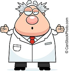 A cartoon illustration of a mad scientist looking confused.