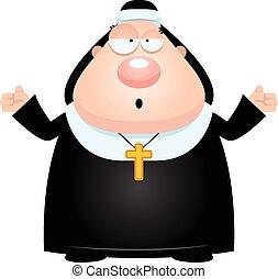 Confused Cartoon Nun - A cartoon illustration of a nun...