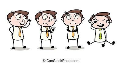 Confused Cartoon Professional Businessman Poses