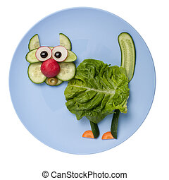 Confused cat made of vegetables on plate