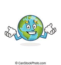 Confused earth mascot, error earth character, earth cartoon vector