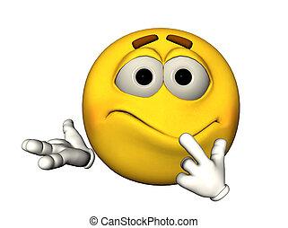 Confused emoticon - 3D illustration of a confused emoticon