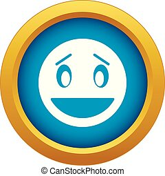 Confused emoticon blue vector isolated
