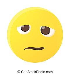 Confused emoticon icon, cartoon style