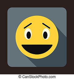 Confused emoticon icon, flat style