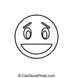 Confused emoticon icon, outline style