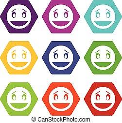 Confused emoticon set color hexahedron