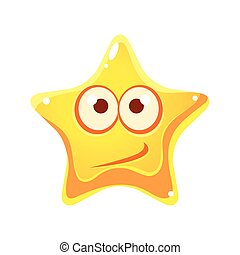 Confused emotional face of yellow star, cartoon character...