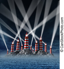 Confused guidance with multiple choices in direction options as a concept of confusion in business strategy and financial planning challenges with many light house towers casting guide lights in tangled paths.
