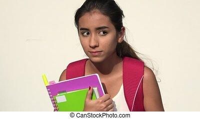 Confused Hispanic Female Teen Student