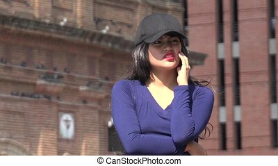 Confused Impatient Woman Wearing Hat And Wig