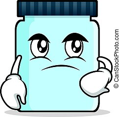 Confused jar character cartoon style