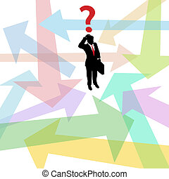 Confused lost business man question arrows decision -...