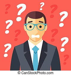 Confused man and many question marks. Confusion, difficult situation, clueless human, misunderstanding graphic concepts. Creative flat design vector illustration