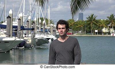 Confused Man at Marina