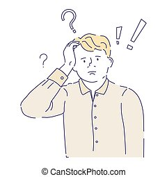 Confused man having doubts with question mark above his head...