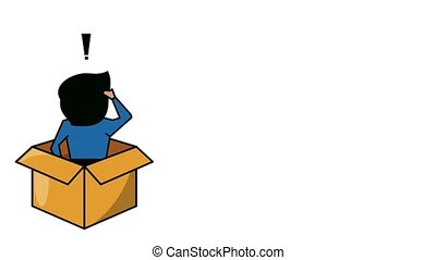 Confused man in box HD animation - Confused man inside...