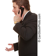 confused man talking on mobile phone smartphone