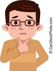 Confused middle-aged men - Vector illustration.