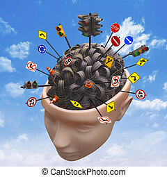Several highways intertwined forming a human brain. Concept of confused mind. Concept of the complexity of the human brain. Clipping path included.