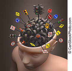 Confused Mind - Several highways intertwined forming a human...