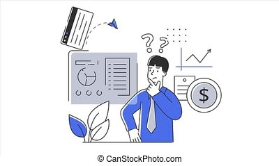 Confused office worker standing near financial chart. Decision making problem concept. Flat metaphor cartoon. Simple style 2d animation with alpha channel isolated on white background.