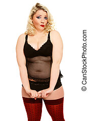 Confused plus-size girl - Beautiful blond plus-size woman in...
