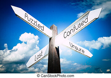 Confused, puzzled, lost, unsure concept - signpost with four arrows