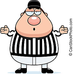 Confused Referee - A cartoon referee with a confused...