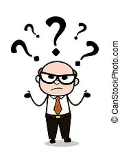 Confused - Retro Cartoon Father Old Boss Vector Illustration