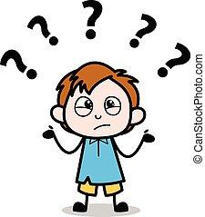 Confused - School Boy Cartoon Character Vector Illustration