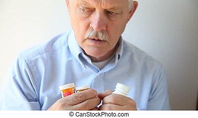 confused senior with meds - an older man cannot recall which...