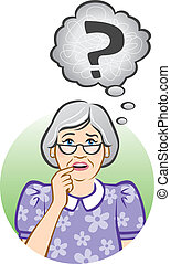 Vector illustration of a confused elderly woman