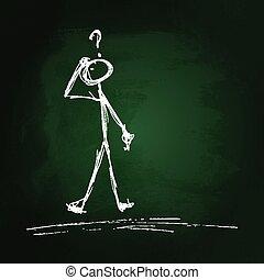 Confused stick man on blackboard