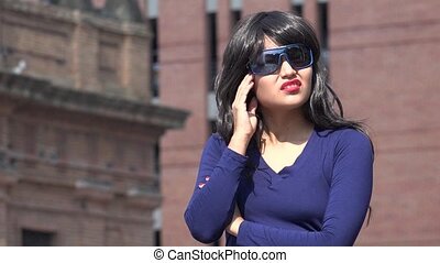 Confused Stressed Woman Wearing Sunglasses And Wig
