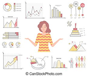 Confused Woman Among Charts and Diagrams Vector - Novice in ...