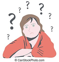 Confused woman thinking with questions
