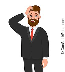Confused young business man in formal wear scratching his head. Unhappy man in puzzled expression. Male character design illustration. Human emotions concept in vector cartoon style.