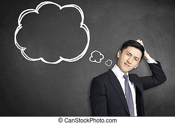 confused young businessman scratching his head with thinking bubble