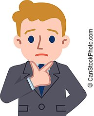 Confused young Caucasian businessman - Vector illustration. ...