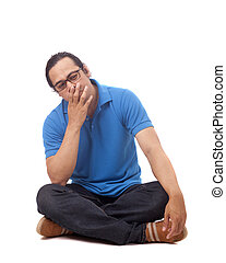 Confused Young Student Sit on Floor and Thinking
