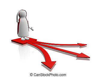 confusión, decisión, opción, flechas, carácter