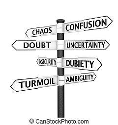 confusión, poste indicador