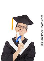 confusing graduation man thinking  and holding diploma