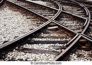 Confusing railway tracks at day