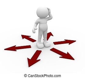 Confusion - 3d people icon surrounded by directional signs -...