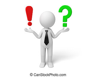 3d small person with a exclamation mark and question mark,. 3d image. Isolated white background