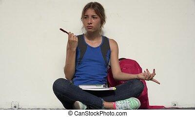 confusion, adolescent, étudiant féminin